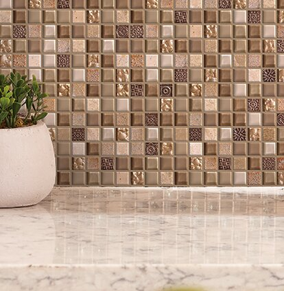 Treasure 12 x 12 Glass Gem Mosaic Tile in Pecan Taupe by Mohawk Flooring