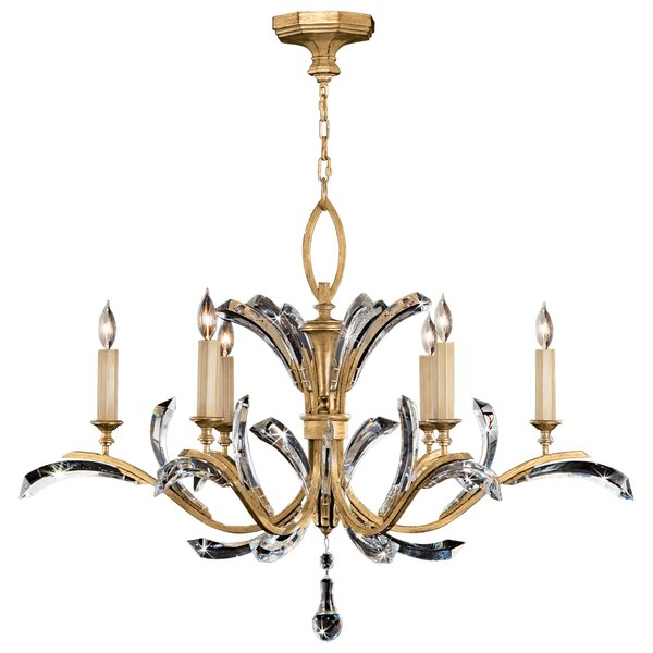 Beveled Arcs 6 - Light Candle Style Classic / Traditional Chandelier by Fine Art Lamps Fine Art Lamps
