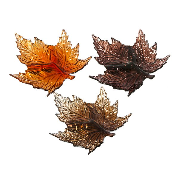 3 Piece Fall Maple Leaves Metallic Glass Plate by Charlton Home