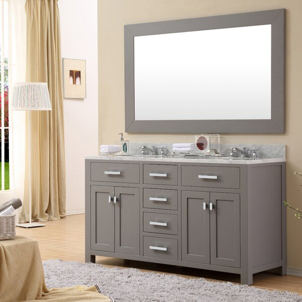 Raven 60 Double Bathroom Vanity Set with Rectangular Mirror by Andover Mills