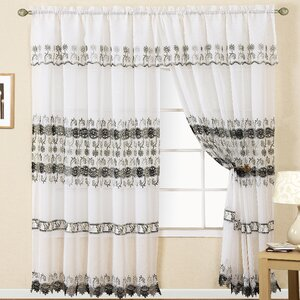 Joyce Macrame Striped Semi-Sheer Rod Pocket Single Curtain Panel