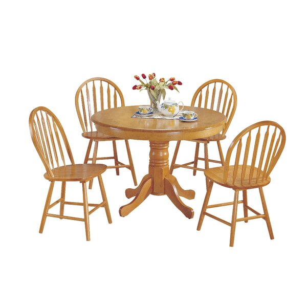 Jaylene Farmhouse 5 Piece Solid Wood Dining Set by Rosalind Wheeler