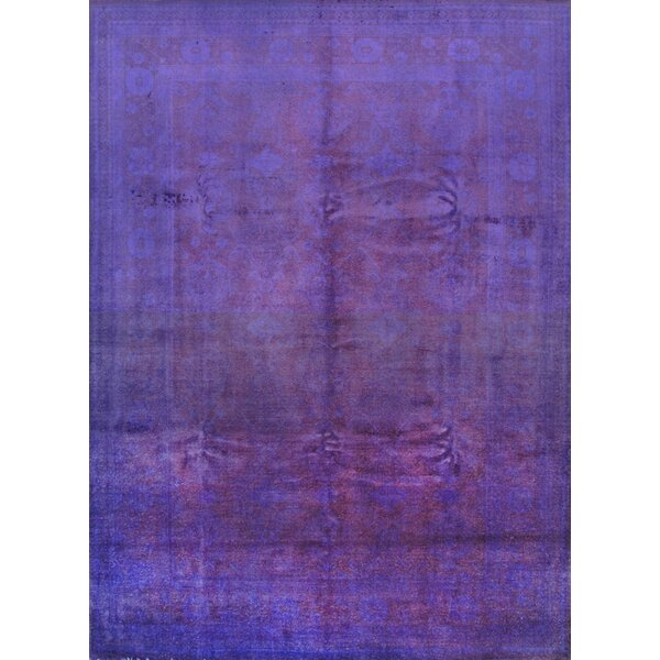 Overdyed Hand-Knotted Purple Area Rug by Pasargad