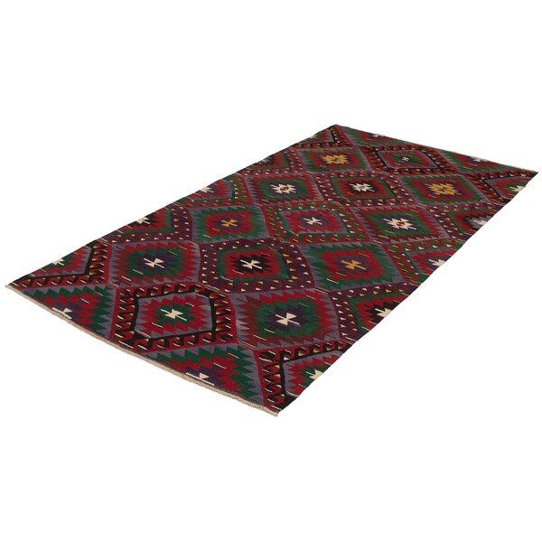 One-of-a-Kind Saroyan Handmade Kilim Runner 5'10 x 11'11 Wool Red/Green/Purple Area Rug