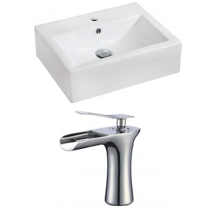 Shop for Ceramic 20 Wall-Mount Bathroom Sink with Faucet and Overflow ByRoyal Purple Bath Kitchen