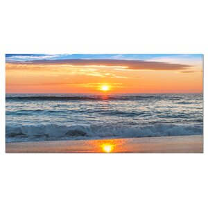 Beautiful Sunrise Over the Horizon Modern Beach Photographic Print on Wrapped Canvas by Design Art