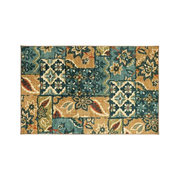 Shameka Floral Patterned Blue/Brown Indoor/Outdoor Area Rug by Winston Porter