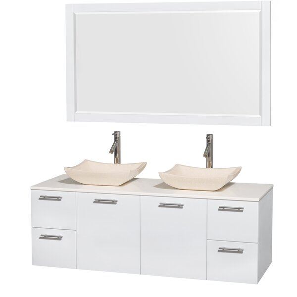 Amare 60 Double White Bathroom Vanity Set with Mirror by Wyndham Collection