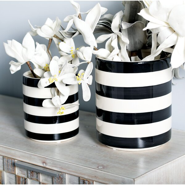 Ables Modern Cylindrical Ceramic 3 Piece Table Vase Set by Mercer41