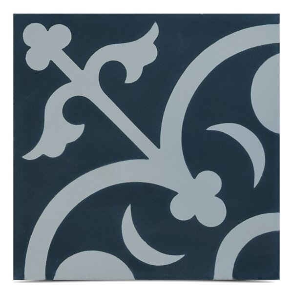 Nador Handmade 8 x 8 Cement Field Tile in Navy Blue/ White by Moroccan Mosaic