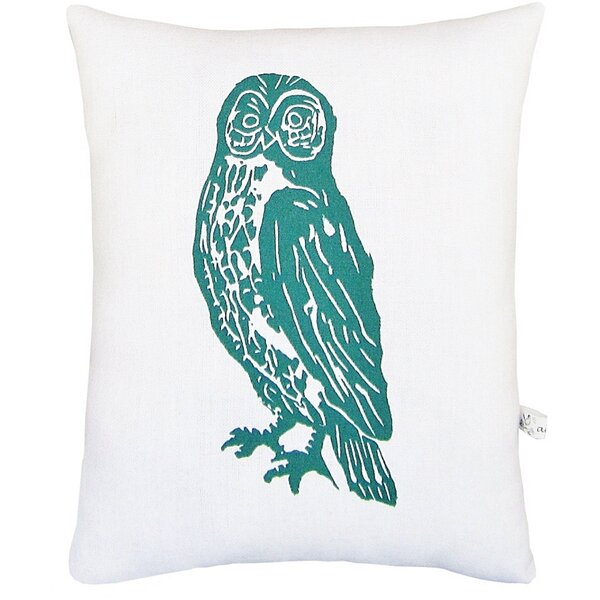 Owl Block Print Squillow Accent Cotton Throw Pillow by Artgoodies