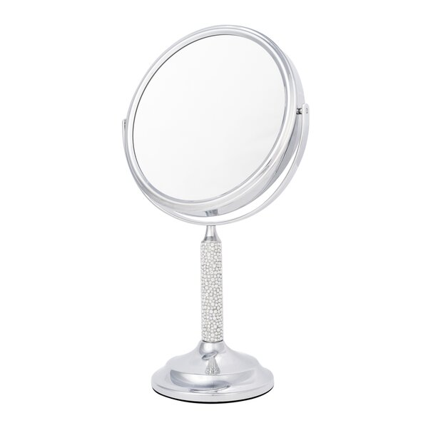 5x Magnify Crystal and Pearl Makeup Mirror by Latitude Run