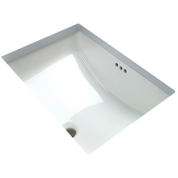 Vitreous China Rectangular Undermount Bathroom Sink with Overflow by Miseno