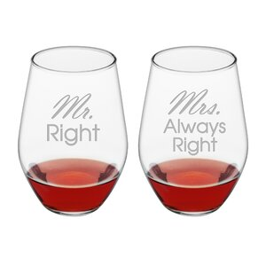 Belington 2 Piece Mr. & Mrs. Always Right 19 Oz. Stemless Wine Glass Set