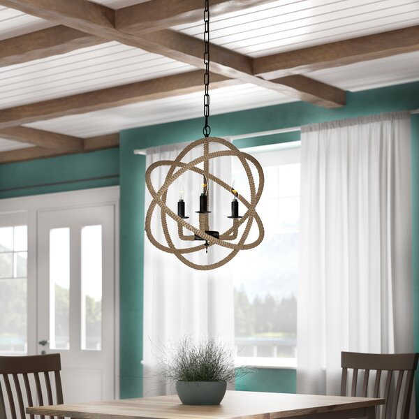Dazelle 3-Light Candle Style Globe Chandelier with Rope Accents by Beachcrest Home Beachcrest Home