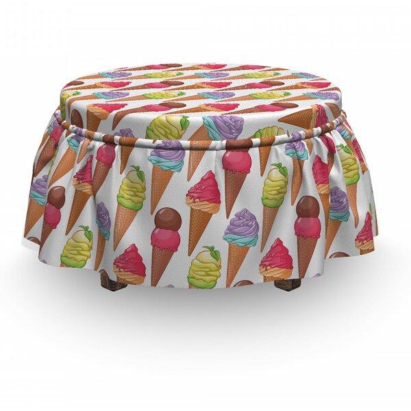 Ice Cream Tasty Summer Deserts 2 Piece Box Cushion Ottoman Slipcover Set By East Urban Home