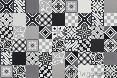 Patchwork Evening 8 x 8 Cement Field Tile in Black/White (Set of 5) by Villa Lagoon Tile