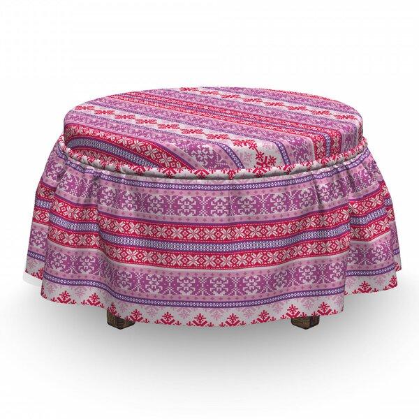 Nordic Geometric Snow December 2 Piece Box Cushion Ottoman Slipcover Set By East Urban Home