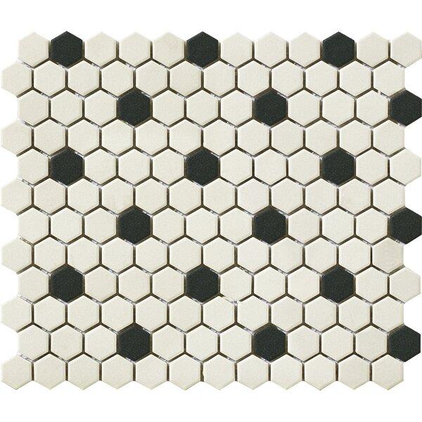 Urban 1 x 1 Porcelain Mosaic Tile in Off White/Black Hexagon by Walkon Tile