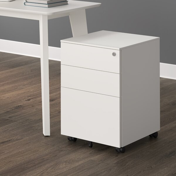 Metal 3-Drawer Mobile Vertical Filing Cabinet