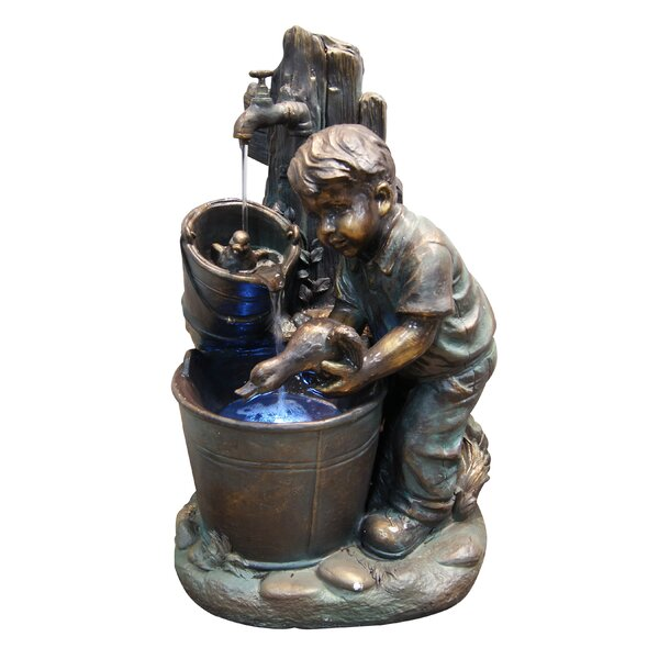 Fiberglass and Resin Boy Washing Duck in Bucket Fountain with LED Light by Woodland Imports