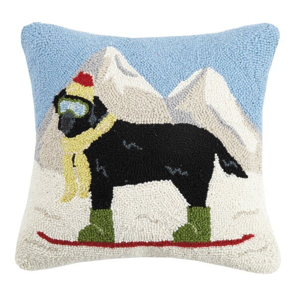 Wymer Snowboarder Lab Dog Hook Wool Throw Pillow by Millwood Pines