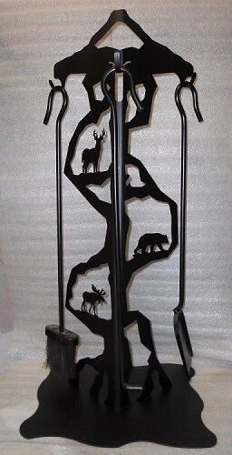 Deer Bear Moose Steel Fireplace Tool Stand by Wildlife Décor