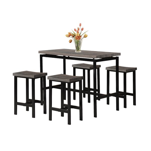 Denzel 5 Piece Counter Height Breakfast Nook Dining Set by Wrought Studio