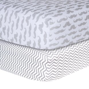 Inexpensive Mustache and Chevron Print Flannel Fitted Crib Sheet Set ByTrend Lab