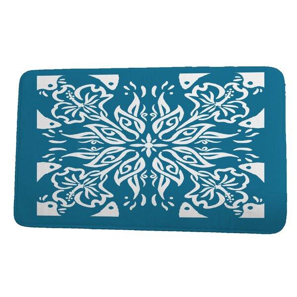 Louie Tile 3 Rectangle Non-Slip Floral Bath Rug
