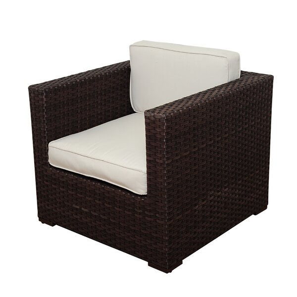 Neo Arm Chair PVC Wicker Brown with OFF-White Cushions by Beachcrest Home