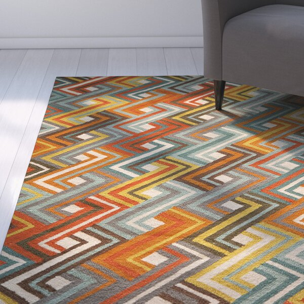 Dixmoor Hooked Blue/Orange Area Rug by Ebern Designs