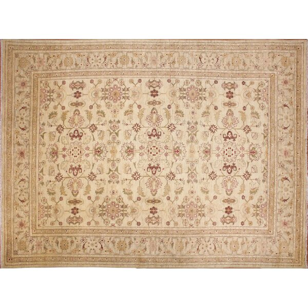 One-of-a-Kind Romona Hand-Knotted Floral Ivory Indoor Area Rug by Isabelline