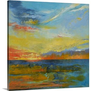 'Turquoise Blue Sunset' by Michael Creese Painting Print on Wrapped Canvas by Great Big Canvas