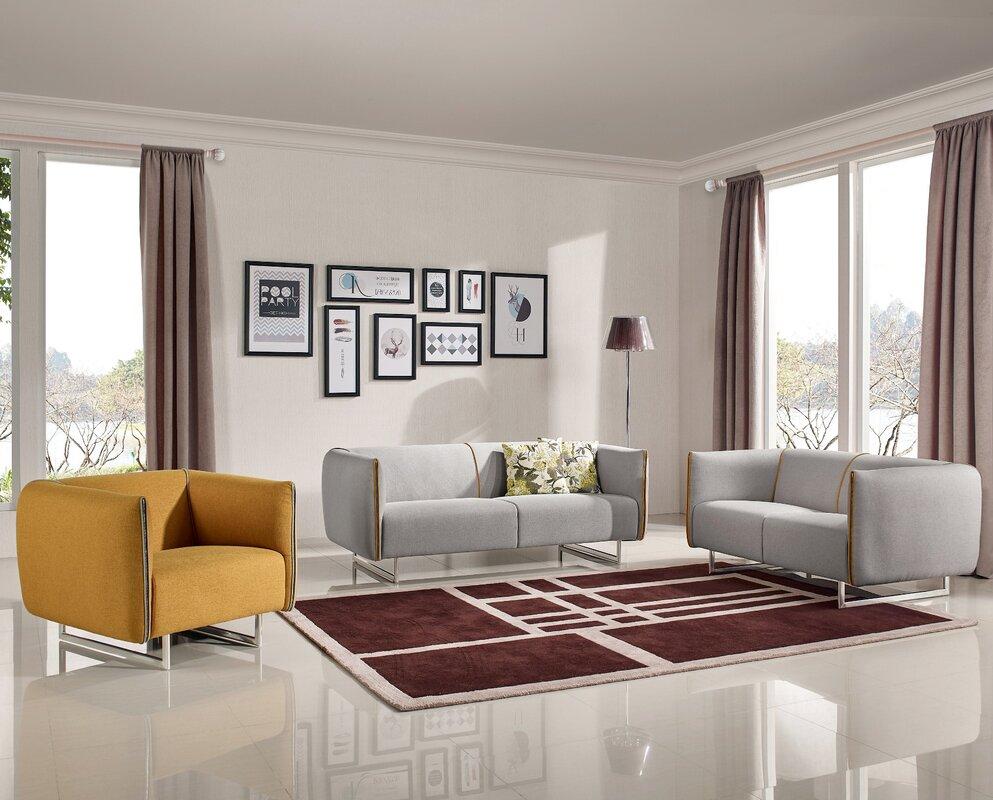 ivy bronx alivia 3 piece living room set reviews. Black Bedroom Furniture Sets. Home Design Ideas