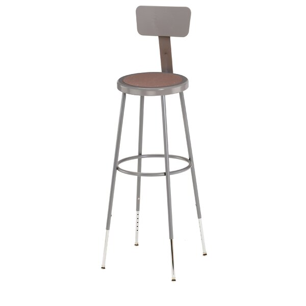 Height Adjustable Stool with Backrest by National Public Seating