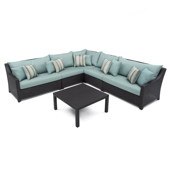 Northridge 6 Piece Rattan Sunbrella Sectional Seating Group by Three Posts