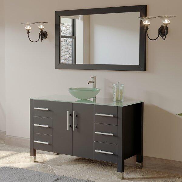 Meserve Solid Wood Glass Vessel 47 Single Bathroom Vanity Set with Mirror by Brayden Studio