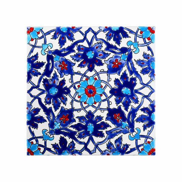 Mediterranean 8 x 8 Ceramic Decorative Tile in Blue by Casablanca Market