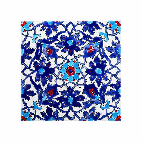 Mediterranean 8 x 8 Ceramic Decorative Tile in Blu