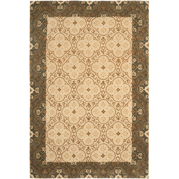 Greenhalgh Hand-Hooked Green/Ivory Area Rug by Red Barrel Studio