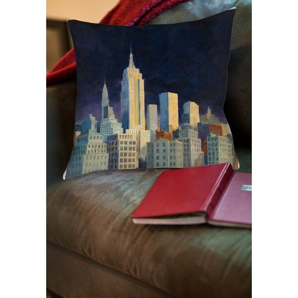 Midnight in Midtown Printed Throw Pillow by Manual Woodworkers & Weavers