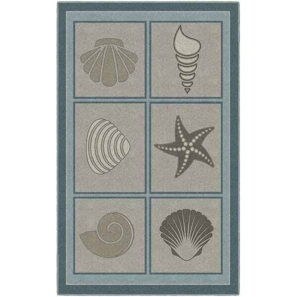 Howell Muted Beach Squares, Seashell Blue/Brown Area Rug by Highland Dunes