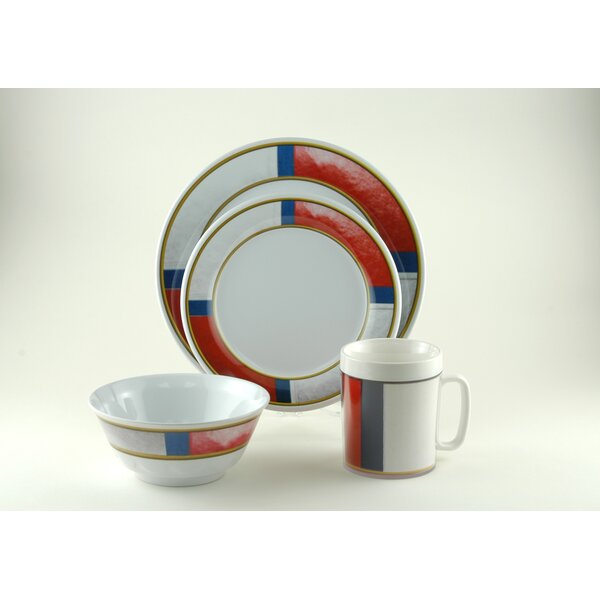 Decorated Life Preserver Melamine 24 Piece Dinnerware Set, Service for 6 by Galleyware Company