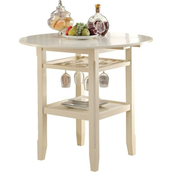Marcia Round Wooden Counter Height Pub Table by Highland Dunes