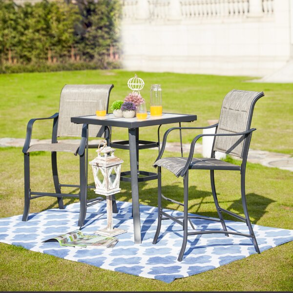Swank 3-Piece Outdoor Bistro Set By Charlton Home