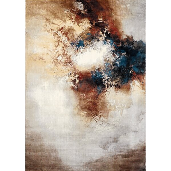 Ted Light In The Clouds Cream/brown Area Rug By Williston Forge.