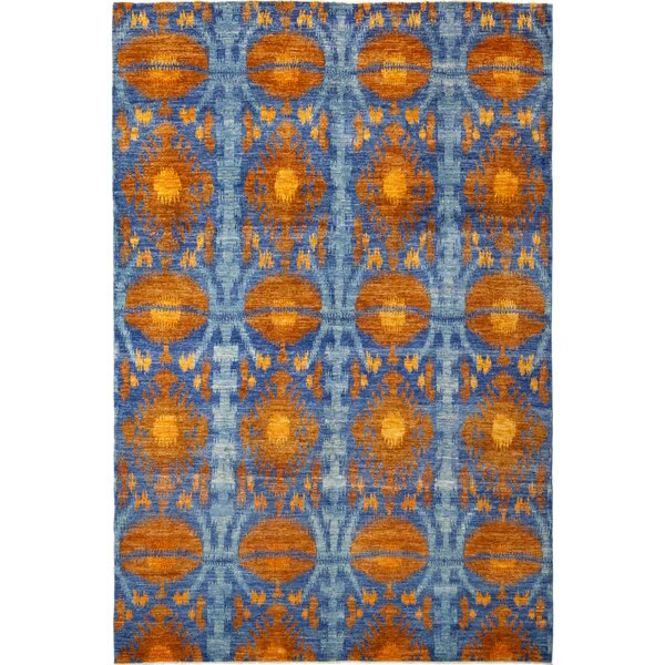 One-of-a-Kind Virenque Hand-Knotted Wool Orange/Blue Indoor Area Rug by Bloomsbury Market