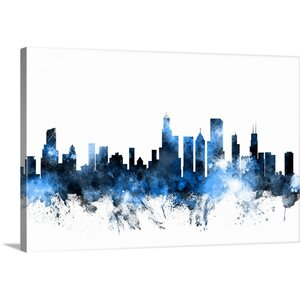 'Chicago Illinois Skyline' by Michael Tompsett Graphic Art on Wrapped Canvas by Great Big Canvas