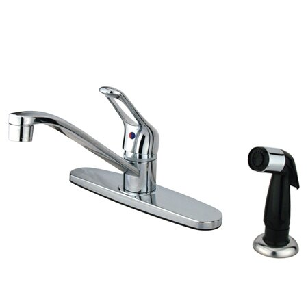Wyndham Single Handle Kitchen Faucet with Sprayer by Kingston Brass